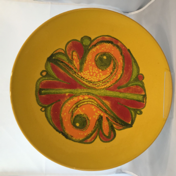 Poole Studio Pottery, Delphis range 14 inch  Charger. Paintress  Carolyn Wills (Walters)